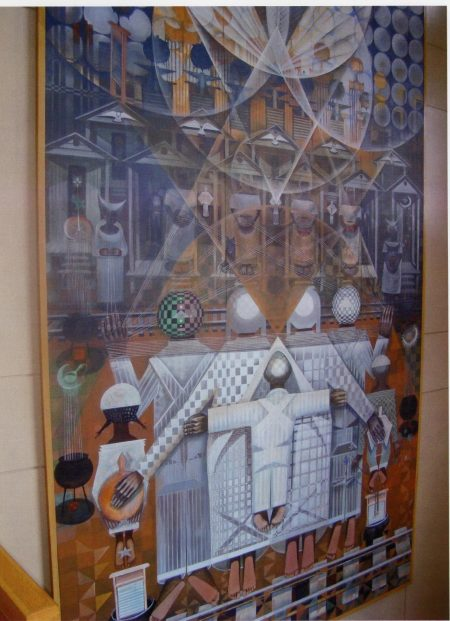"John T. Biggers, Ascensions, 1992, Acrylic on canvas, 360""x180"", Gift of the Winston-Salem Alumnae Chapter of Delta Sigma Theta Sorority, Inc."