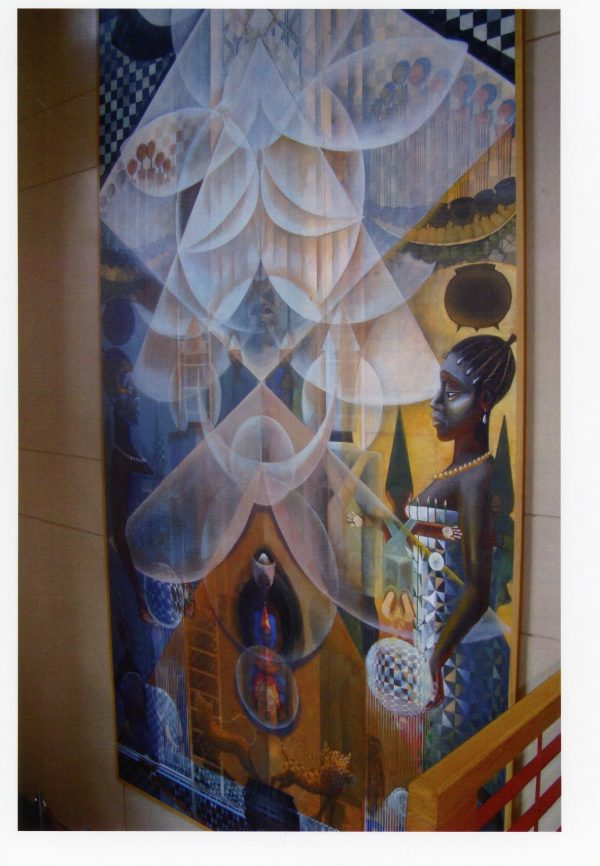 "John T. Biggers, Origins, 1992, Acrylic on canvas, 360""x180"", Gift of the Winston-Salem Alumnae Chapter of Delta Sigma Theta Sorority, Inc."