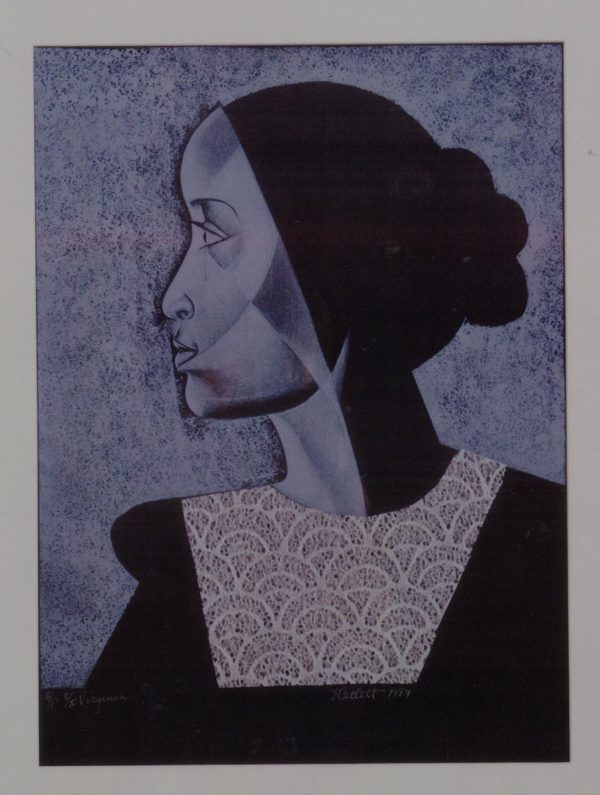 "Elizabeth Catlett, Virginia, 1984, Lithograph, collage, 17""x 14"", Gift of Gordon Hanes."
